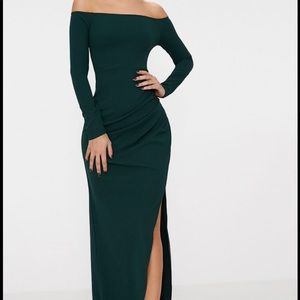 PLT Emerald Green Long Sleeve Bardot Maxi Dress